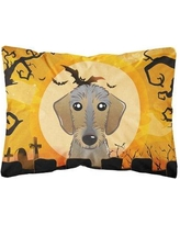 The Holiday Aisle Erie Halloween Wirehaired Dachshund Fabric Indoor/Outdoor Throw Pillow BF148623