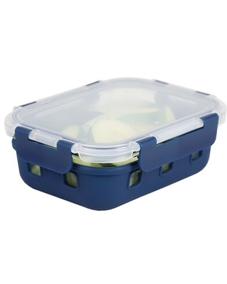 Rectangle Medium 21 Ounce High Borosilicate Glass Food Storage Container with Plastic Lid