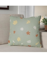 """The Holiday Aisle Falling Leaves Indoor/Outdoor Throw Pillow HLDY1190 Size: 20"""" H x 20"""" W x 4"""" D, Color: Green/Orange/Yellow"""