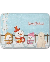 The Holiday Aisle Merry Christmas Carolers Great Pyrenese Memory Foam Bath Rug THLA5285