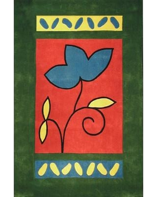 "American Home Rug Co. Bright A Single Flower Hand-Tufted Green/Red Area Rug AT001EM/RS Rug Size: Rectangle 3'6"" x 5'6"""