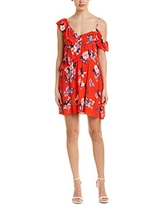 cupcakes and cashmere Women's Cordetta Assymetrical Ruffle Print Dress, Poppy red, Large