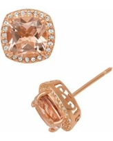 14k Rose Gold Over Silver Simulated Morganite and Lab-Created White Sapphire Halo Stud Earrings, Women's, Pink