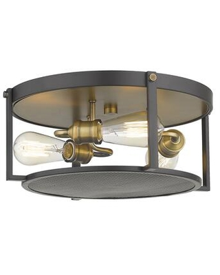 Halcyon Collection 723F15-BRZ+HBR 3 Light Flush Mount in Bronze and Heritage