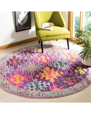 Bungalow Rose Chana Purple Pink Yellow Area Rug Bnrs3203 Size Round 6