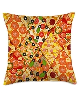 Pizza Playground Delicious Variety of Pizza Art Pattern Throw Pillow, 18x18, Multicolor