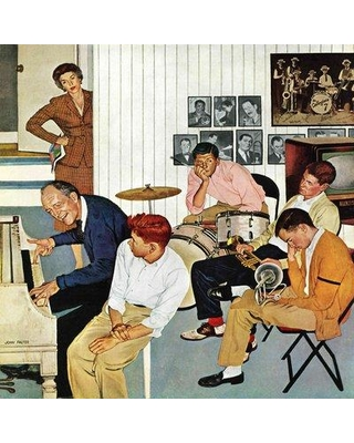 """Marmont Hill Jamming with Dad by John Falter Painting Print on Wrapped Canvas MH-RETR-321-C- Size: 48"""" H x 48"""" W"""