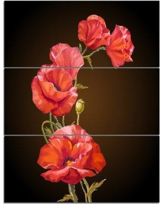Design Art Bright Poppies Flower - 3 Piece Painting Print on Wrapped Canvas Set PT10015-3PV