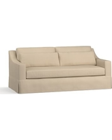 """York Slope Arm Slipcovered Deep Seat Sofa 80"""" with Bench Cushion, Down Blend Wrapped Cushions, Twill Parchment"""