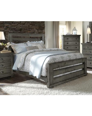 Willow Collection P600-80/81/78 King Slat Complete Bed with Slat Headboard Slat Footboard Rails in Distressed Dark