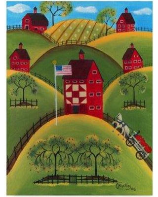 """Winston Porter 'Red Apple Quilt Barns' Acrylic Painting Print on Wrapped Canvas WNPO2453 Size: 24"""" H x 18"""" W x 2"""" D"""