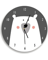 Kid'O Design Studio Polar Bear Wall Clock Decorative Kids room Clock,Battery Operated Wall Clocks, Gar and White,10.62 inches