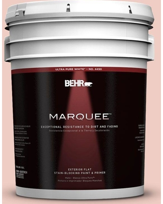 BEHR MARQUEE 5 gal. #200E-2 Salmon Tint Flat Exterior Paint and Primer in One