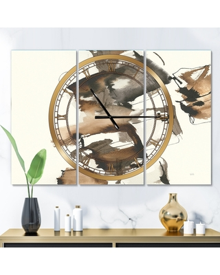 Designart 'Gold Glam Squares II' Glam 3 Panels Large Wall CLock - 36 in. wide x 28 in. high - 3 panels (36 in. wide x 28 in. high - 3 panels)