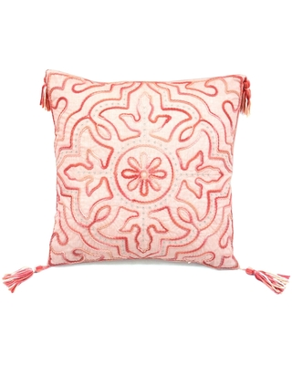 Tie Dyed Coral Chenille Tile Accent Pillow (Multi - Polyester - Square - Bohemian & Eclectic - Zipper Closure - Geometric)