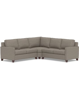 Cameron Square Arm Upholstered 3-Piece L-Shaped Wedge Sectional, Polyester Wrapped Cushions, Performance Chateau Basketweave Light Gray