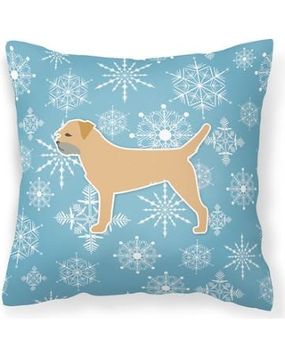 """East Urban Home Winter Snowflakes Indoor/Outdoor Throw Pillow EUME9132 Size: 14"""" H x 14"""" W x 3"""" D"""