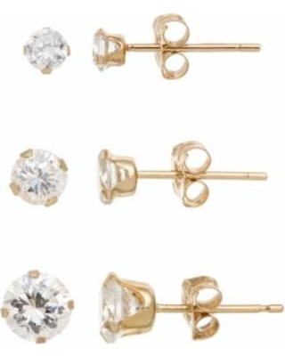 eae9bc620 Here's a Great Deal on 10k Gold Cubic Zirconia Stud Earring Set ...