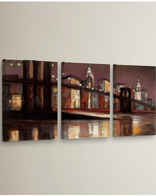 """Williston Forge 'NYC Nighttime' 3 Piece Painting Print on Wrapped Canvas Set WLFR3691 Size: 18"""" H x 36"""" W x 2"""" D"""