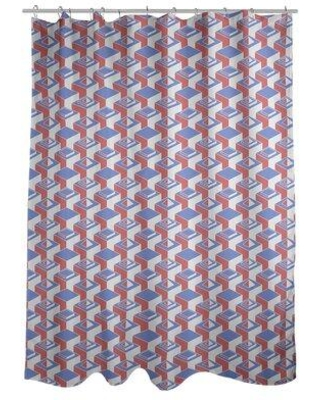 East Urban Home Classic Skyscrapers Single Shower Curtain W000702265 Color: Blue/Red