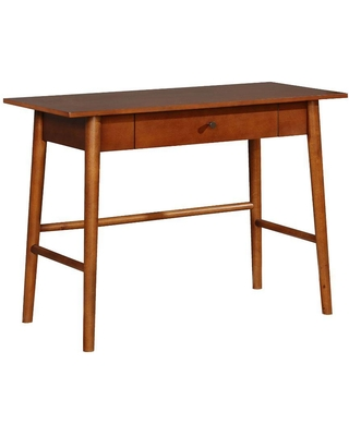 Benjara Transitional 42 in. W Brown Wooden Desk with Angled Legs and Spacious Drawer