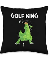 Cool Dino Golf Player Golfing Club Athlete Clothes Funny Gift for Men Dad Golf Field Game Golfer Sports Throw Pillow, 16x16, Multicolor