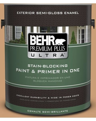 BEHR ULTRA 1 gal. #ICC-62 Pumpkin Butter Semi-Gloss Enamel Exterior Paint and Primer in One