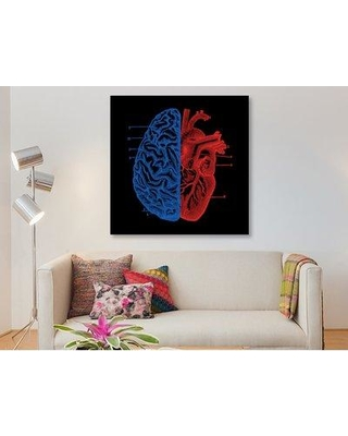 """East Urban Home 'Heart And Brain' Graphic Art Print on Wrapped Canvas ESUI0999 Size: 18"""" H x 18"""" W x 0.75"""" D"""
