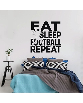 Shop Deals On Football Wall Decal Eat Sleep Quote Decor Vinyl Art Sticker For Girl S Bedroom Decor Playroom Or Game Room Decoration