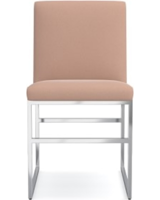 Lancaster Dining Side Chair, Signature Velvet, Rosewater, Polished Nickel