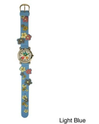Olivia Pratt Kids' Colorful Flowers Silicone One-size Watch (Light Blue)