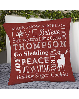 Holiday Traditions Personalized 18-inch Velvet Throw Pillow