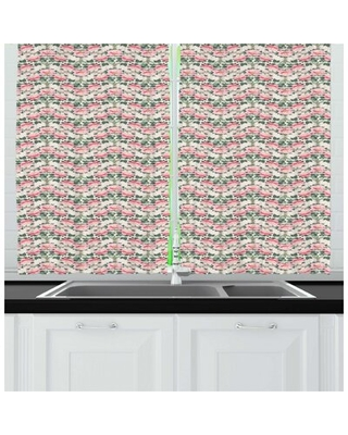 Peony Repetitive Flowers Innocent Floral Illustration Kitchen Curtain East Urban Home