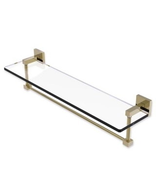 Allied Brass Montero Collection 22-Inch Glass Shelf with Integrated Towel Bar in Unlacquered Brass