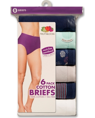 Fruit of the Loom Women's Classic Briefs 6-Pack (Colors May Vary) - 6, Multicolored