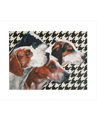 """Ebern Designs 'Foxhounds On Houndstooth' Acrylic Painting Print BI173993 Size: 10.5"""" H x 12.5"""" W x 0.02"""" D Format: Print"""