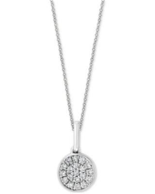 """Effy Diamond Pave Cluster 18"""" Pendant Necklace (1/10 ct. t.w.) in Sterling Silver"""