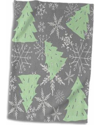 Sales On The Holiday Aisle Cute Christmas Trees Snowflakes Tea Towel Cotton Microfiber Terry In Gray Green Size 22 W X 15 D Wayfair