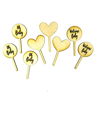 Oh Baby Cupcake Topper Personalized engraved SET OF 8 Round and Heart Custom Baby Shower Laser Cut Wood