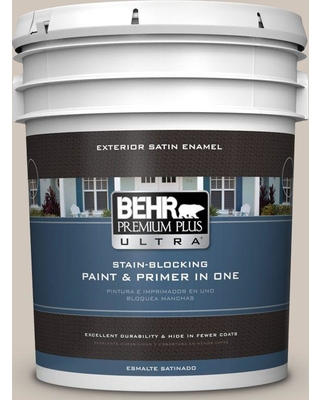 BEHR ULTRA 5 gal. #N210-2 Cappuccino Froth Satin Enamel Exterior Paint and Primer in One