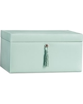 McKenna Leather Large Jewelry Box, Porcelain Blue