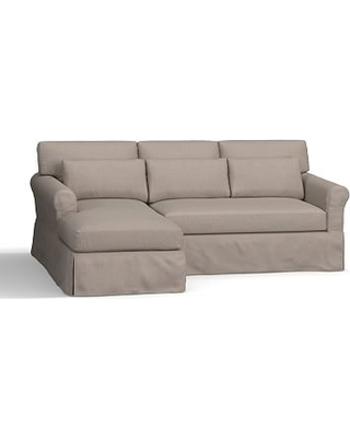 York Roll Arm Slipcovered Deep Seat Right Arm Sofa with Chaise Sectional, Down Blend Wrapped Cushions, Performance Everydayvelvet(TM) Carbon