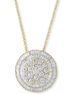 """Effy Diamond Cluster Halo 16"""" Pendant Necklace (1-5/8 ct. t.w.) in 14k Gold"""
