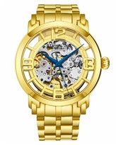 Stuhrling Stainless Steel Gold Tone Case on Stainless Steel Link Bracelet, Gold Tone Dial, with Blue Accents - Gold