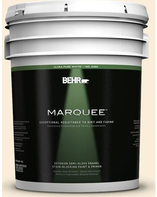 BEHR MARQUEE 5 gal. #380E-1 Mist Yellow Semi-Gloss Enamel Exterior Paint and Primer in One