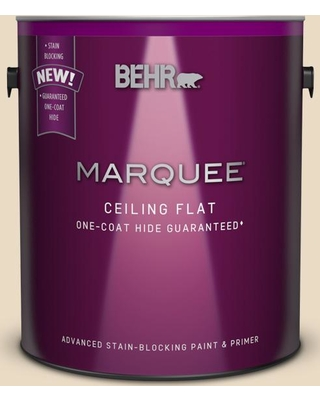 BEHR MARQUEE 1 gal. #MQ3-41 Tinted to Moongaze One-Coat Hide Flat Interior Ceiling Paint and Primer in One, Beige/Ivory