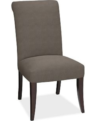 PB Comfort Roll Upholstered Dining Side Chair, Performance Heathered Tweed Graphite