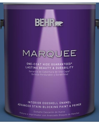 BEHR MARQUEE 1 gal. #M520-7 Admiral Blue One-Coat Hide Eggshell Enamel Interior Paint and Primer in One