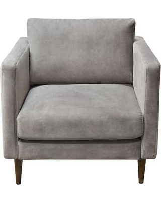 Sage Collection SAGECHCG Chairs with Velvet Upholstery Stitching Details Track Arms Tapered Legs and Contemporary Style in Champagne
