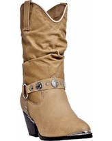 Women's Dan Post Slouch Cowboy Boot with Harness by Haband, Tan Size 7.5 M